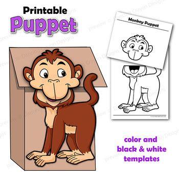 paper bag monkey puppet pattern puppet monkey craft activity paper bag puppet template tpt