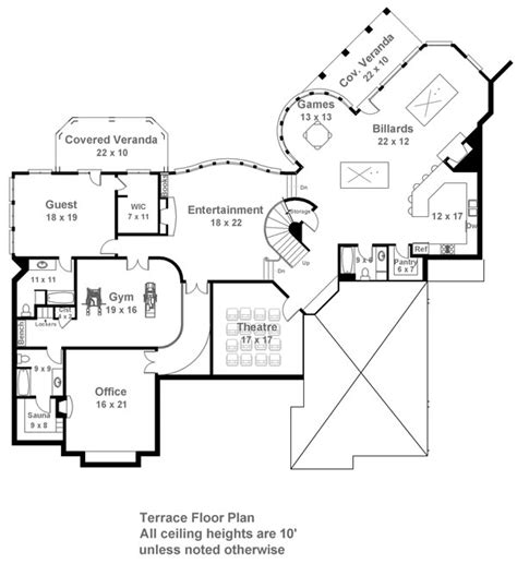 terrace floor plans pontarion 6014 4 bedrooms and 5 baths the house designers