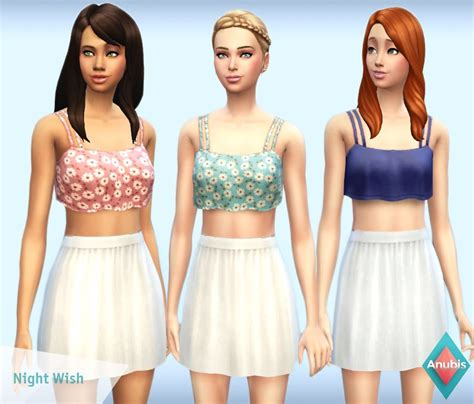 sims 4 cc crop tops anubis sims stuff night wish crop top dress the