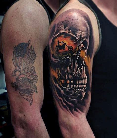 harley skull tattoo designs 90 harley davidson tattoos for manly motorcycle