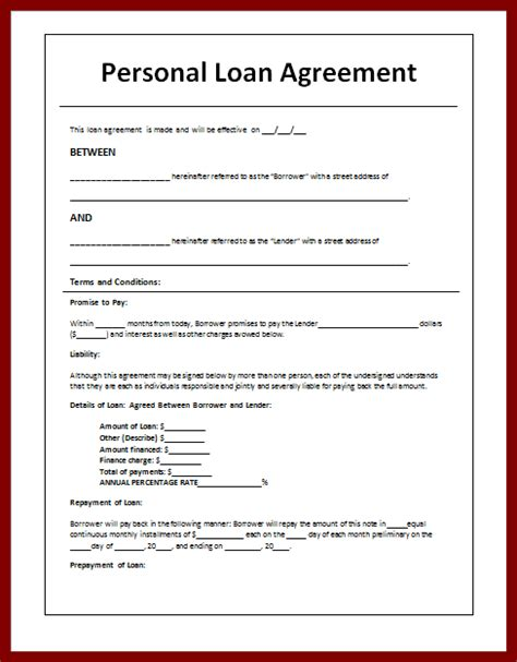unsecured loan agreement template the gallery for gt personal payment agreement form