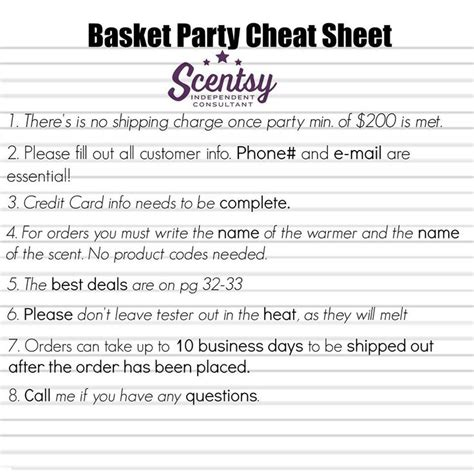 printable business card template for scentsy scentsy basket hostess sheet scentsbykris