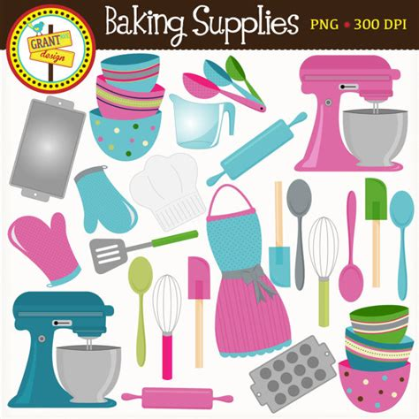 Pink And Blue Baking Clipart Cute Digital Graphics Png Vintage Bakery Cooking Cake Cookies » Home Design 2017