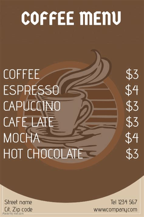 coffee menu template postermywall