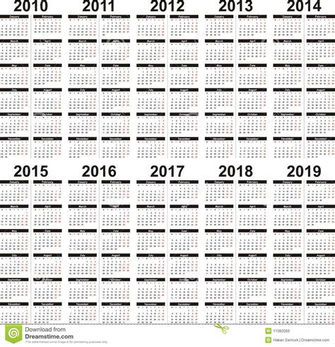 5 Year Calendar 5 Year Calendar