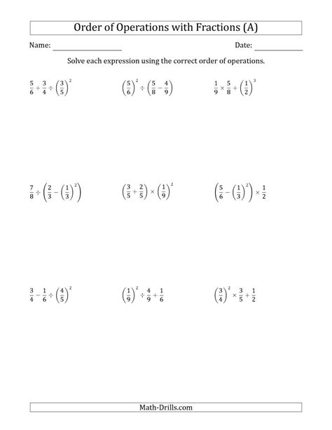 Bedmas With Fractions Worksheet by Order Of Operations With Positive Fractions Three Steps A