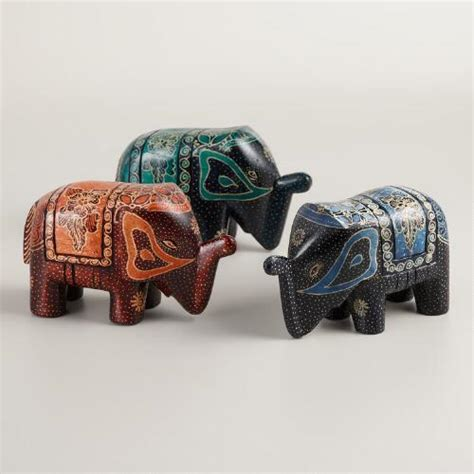 Batik Set 3 batik wood elephant set of 3 world market