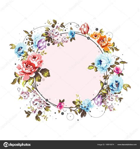 circle background with shabby vintage flowers stock