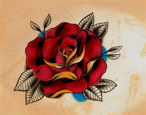 rose old school tattoo new school style