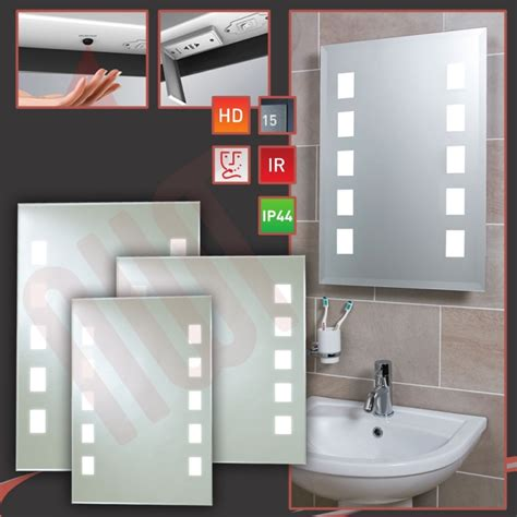 designer quot back lit quot led bathroom mirror infrared heat