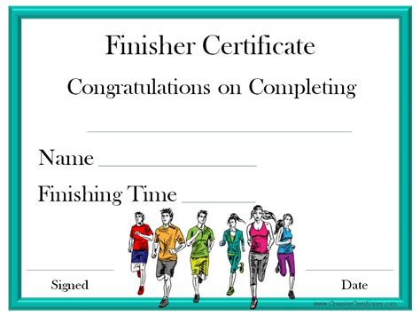 running certificates templates free finisher certificate classroom ideas