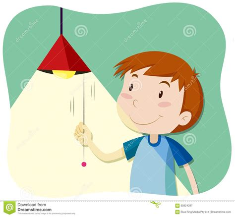 turn on light boy turning on the light stock vector image of