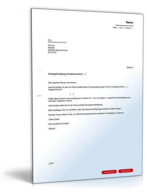 Vorlage Kündigung Arbeitsvertrag Nicht Fristgerecht K 252 Ndigung Beim Energieversorger Fristgerecht Muster Zum