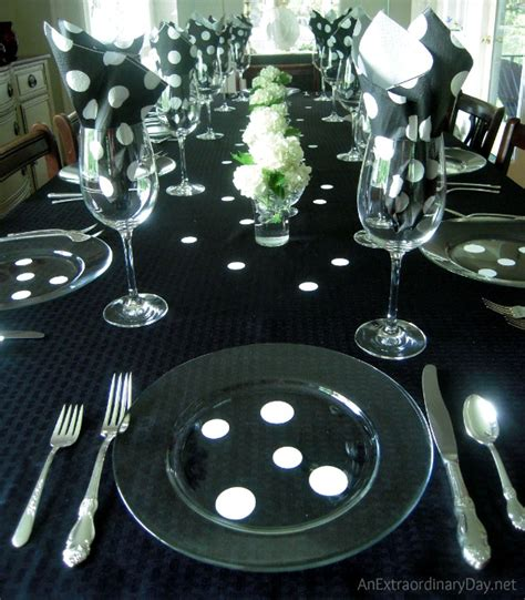 black and white table setting hospitality black white polka dots tablescape an
