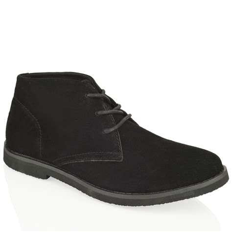 mens comfort work shoes mens boys ankle chukka desert suede leather lace comfort