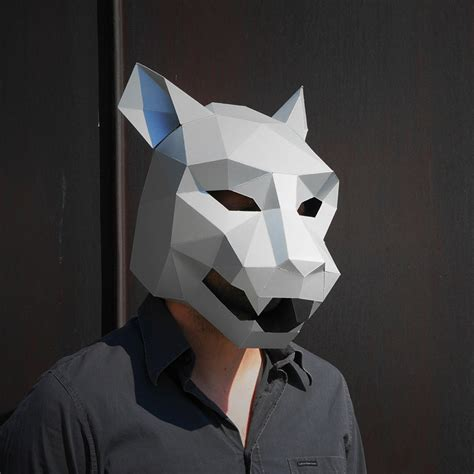 diy low poly animal masks for halloween by wintercroft