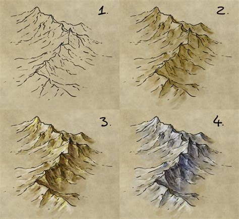 how to draw a map how to draw shade and colour a mountain range