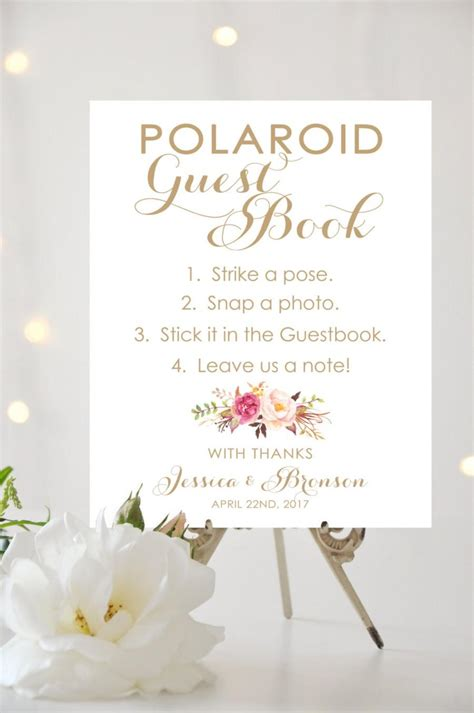 Polaroid Guest Book Sign 8 X 10 Or 11 X 14 Sign Personalized Sign Vintage Antique Gold I Polaroid Guest Book Sign Template