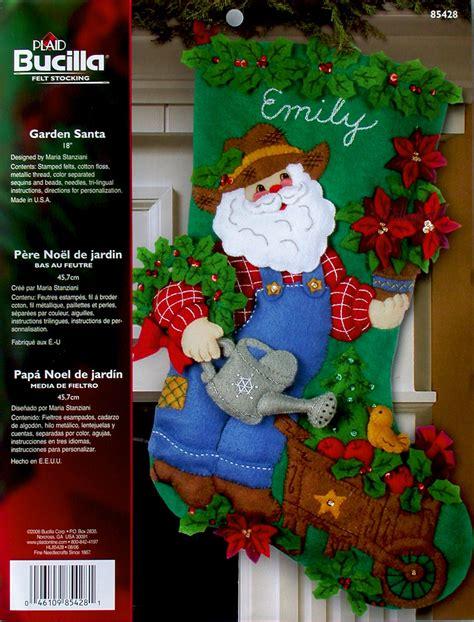 garden santa  bucilla felt christmas stocking kit