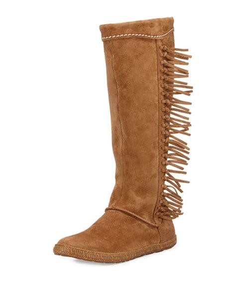 ugg mammoth suede fringe knee boot chestnut