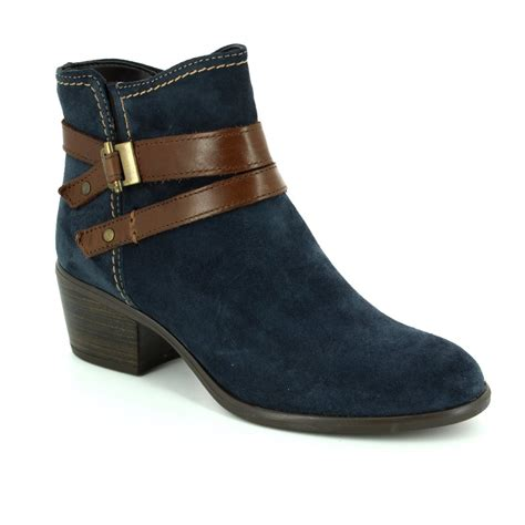 tamaris becka 72 25010 863 navy suede ankle boots