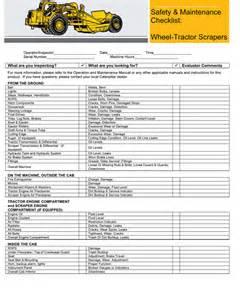 Wheels Truck Checklist Wheel Tractor Scraper Safety And Maintenance Checklist