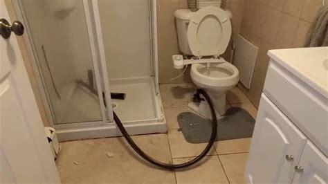 bathroom snakes for drains plumber snake breaks through toilet youtube