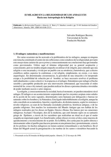 (PDF) El MILAGRO EN LA RELIGIOSIDAD DE LOS ANDALUCES