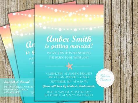 theme bridal shower menu 2 theme wedding shower invitation starfish sunset