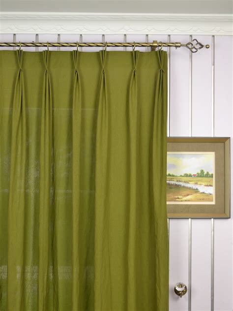 pleated curtains and drapes qyk246sdk eos linen green blue solid triple pinch pleat