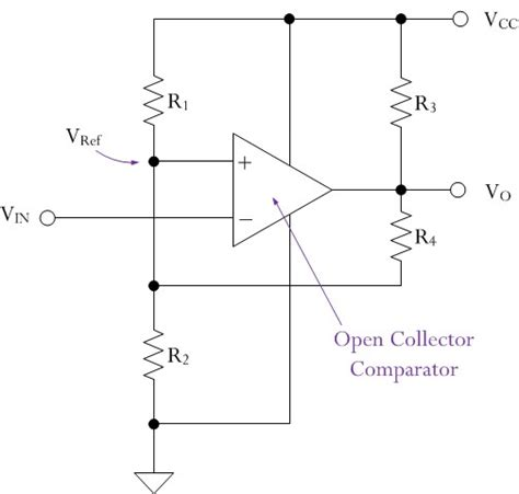 hysteresis calculation for quot open collector output comparator quot with a pull up resistor