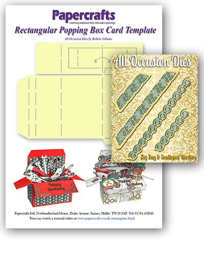 rectangle box card template rectangular popping box card template set of 4 border