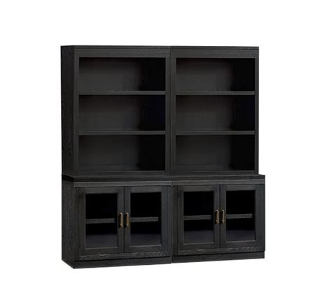 bookcase cabinets with doors open bookcase with glass door cabinets pottery barn