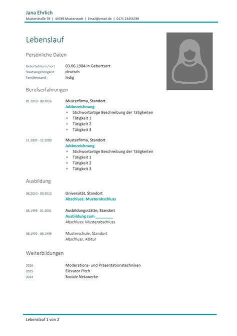Lebenslauf Muster Ausbildung Word by Kostenlose Lebenslauf Muster Und Vorlagen F 252 R Deine