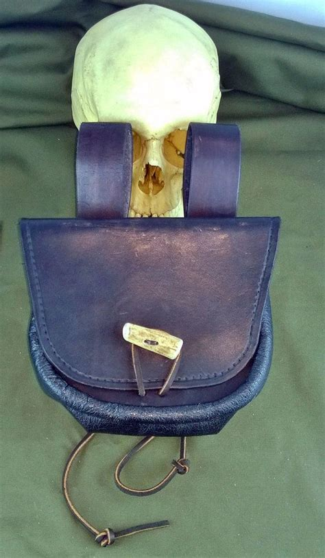 leather belt pouch antler button pirate bushcraft by