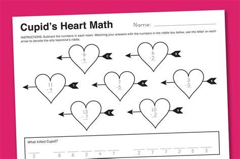 free printable math valentine worksheets worksheet wednesday cupid math paging supermom