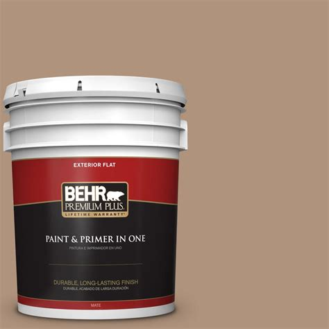 behr premium plus 5 gal ppu4 04 soft chamois flat exterior paint and primer in one 440005