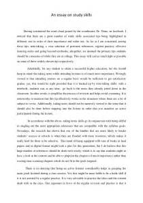 Study Essay by An Essay On Study Skills