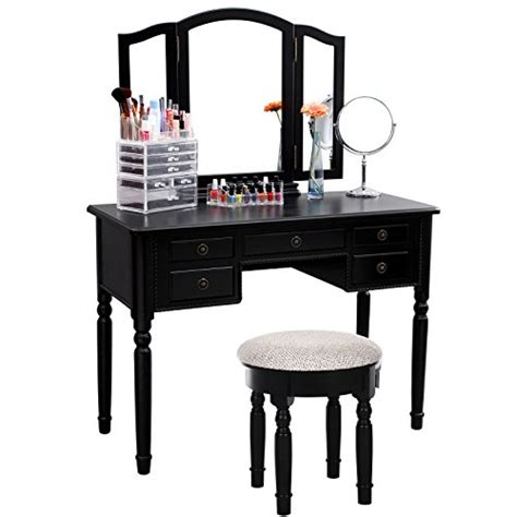 Makeup Vanity Table With Drawers Songmics Vanity Set Tri Folding Mirror Make Up Dressing Table Import It All