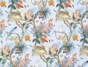designer fabrics designer tropical cockatoo blue jay birds calla lily toile