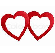 Zwei Gebundene Herzen Frame Isoliert Auf Wei&223em
