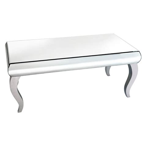 zion coffee table rectangular in curved mirror with silver