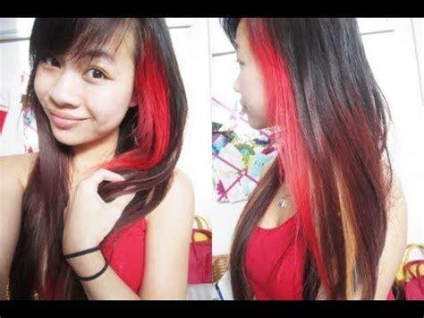 bright red hair tutorial pretty bright red streak in black hair hairstyle