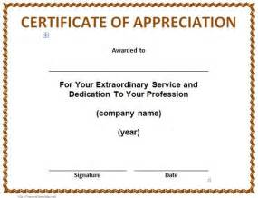 Recognition Of Service Certificate Template by 30 Free Certificate Of Appreciation Templates And Letters