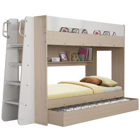 houston single trio bunk bed with trundle temple webster