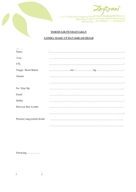 form pendaftaran lomba