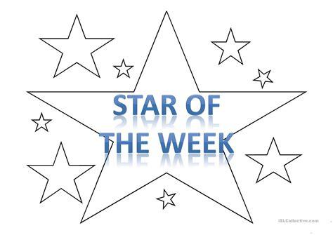 star of the week template worksheet free esl
