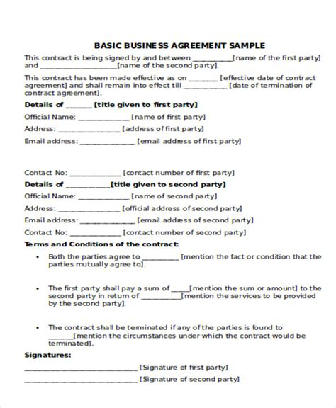 Business Agreement Sle Sle Business Partnership Agreement Business Agreement Sle Basic Partnership Agreement Template