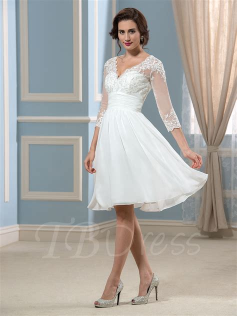 Lace V Neck 3/4 Length Sleeve Knee Length Short Wedding Dress : Tbdress.com