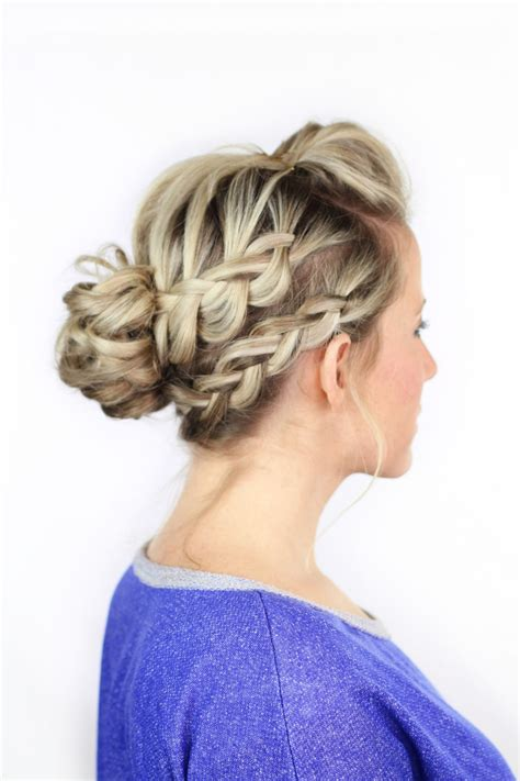 double braided messy bun twist  pretty